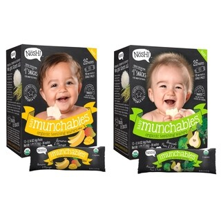 Nosh Baby Munchables Organic Rice Teething Wafers - 26 Piece - Sampler Pack - Banana Mango & Broccoli Pear Kale