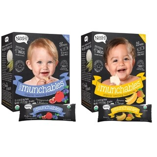 Nosh Baby Munchables Organic Rice Teething Wafers - 26 Piece - Sampler Pack - Pomegranate Blueberry & Banana Mango