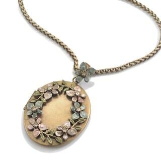 Sweet Romance Large Flower Wreath Oval Locket Necklace
