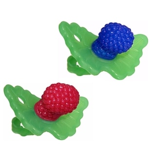 RaZbaby RaZ-Berry Silicone Teether Double Pack - Red/Blue