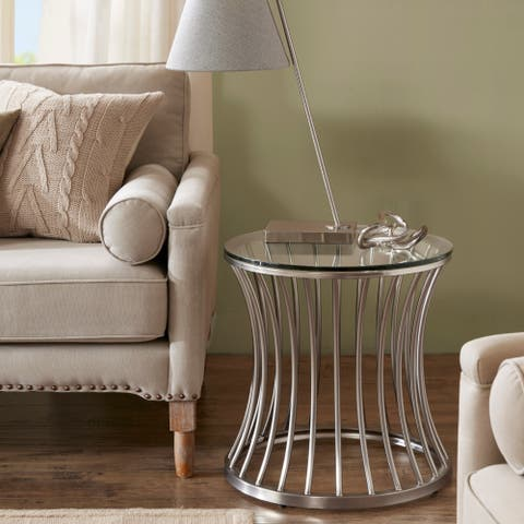 Madison Park Clarita Nickle Round End Table