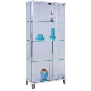 Somette Rectangular Glass Curio with Bent Glass Back