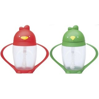 Lollacup Infant And Toddler Straw Cup - 2 Pack - Red/Green