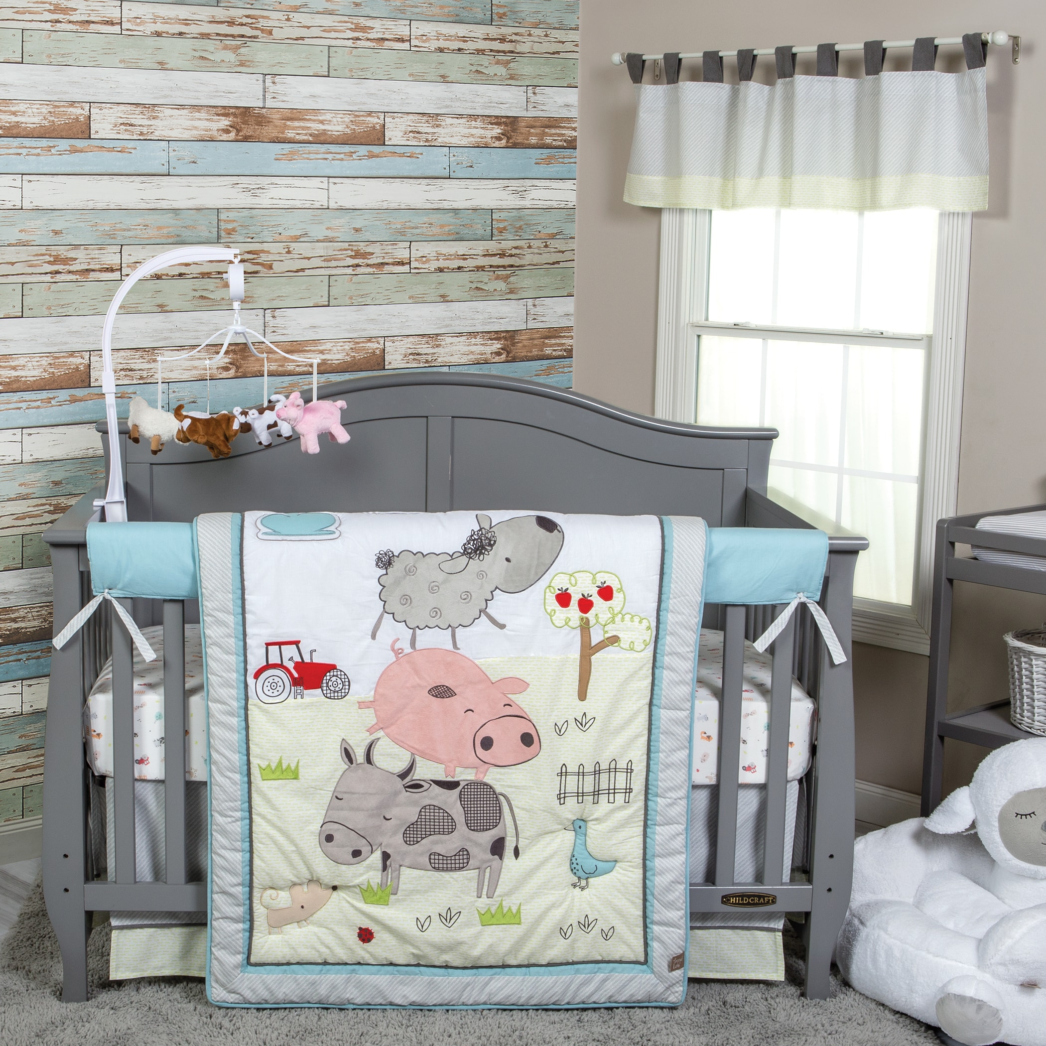 Baby Crib Bedding Set 4 Psc Animal Bed Comforter Boys Girls Nursery Decor New Ebay