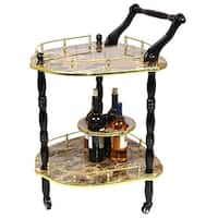 Gold Wood 2-tier Tea Cart