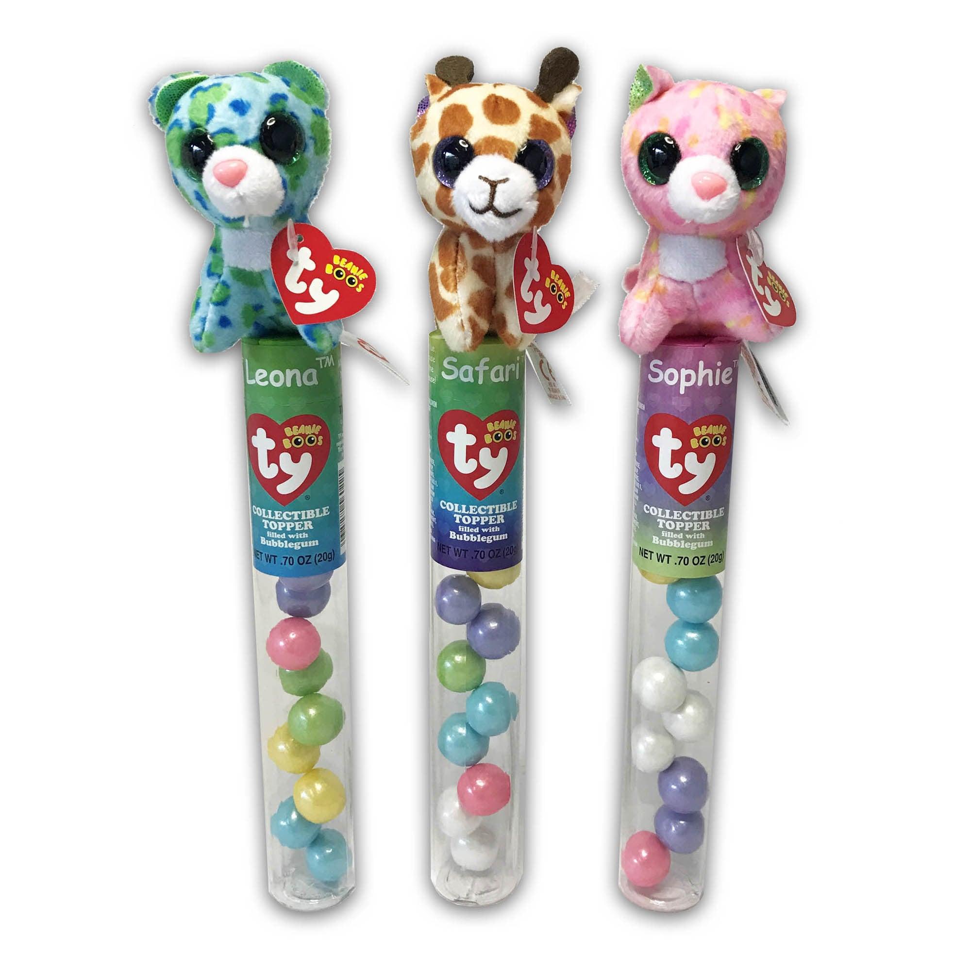 Ty Beanie Plush Candy Tube Topper Leona, Sophia, Safari (...