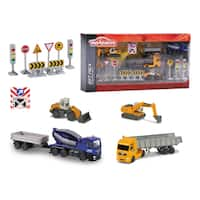 Majorette Construction Theme Playset with 5 Vehicles