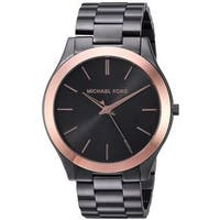 Michael Kors Men's  Slim Runway Gunmetal Dial Gunmetal Stainless Steel Bracelet Watch
