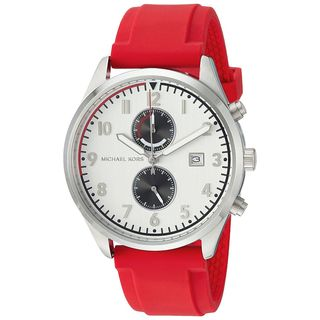 Michael Kors Men's MK8572 'Saunder' Chronograph Red Silicone Watch