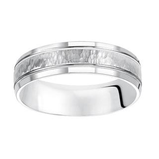 Cambridge Jewelry 14k White Gold Tumbled Stone Engraved Wedding Band