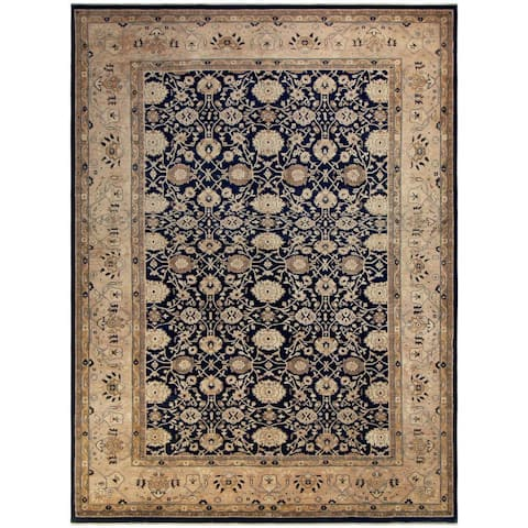Hand-Knotted Kafkaz Peshawar Freeda Blue/Tan Wool Rug (12'8 x 17'0) - 12 ft. 8 in. x 17 ft. 0 in. - 12 ft. 8 in. x 17 ft. 0 in.