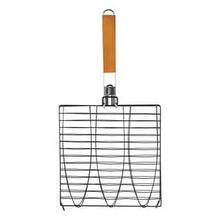 Non-Stick Triple Fish Basket with Folding Handle