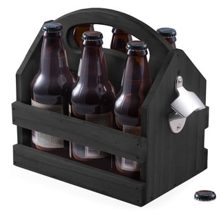 Black Solid Wood Beer Caddy With Bottle Opener