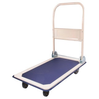 150KG Bearing Capacity Trolley Folding Flat Cart Creamy White & Dark Blue