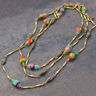 Sweet Romance Long Millefiori Glass Beads Chain Necklace