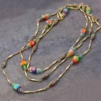 Sweet Romance Long Millefiori Glass Beads Chain Necklace