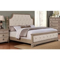 Piraeus Soft Fabric Upholstery With Button Tufting and NailHead Trim Bed in White Wash
