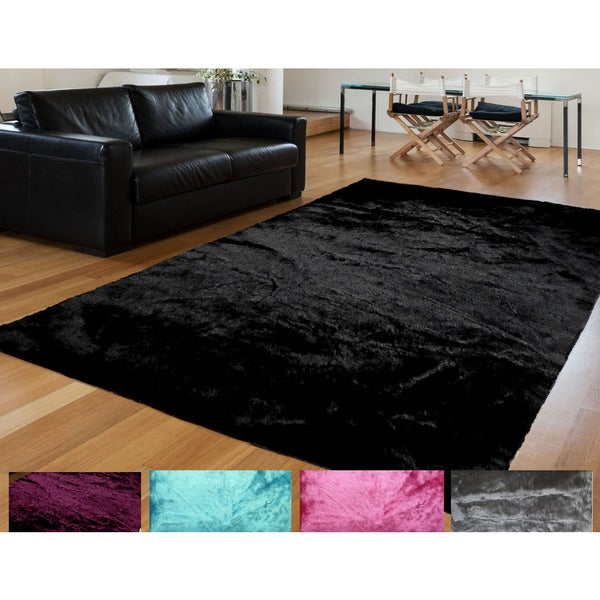 solid faux sheepskin and acrylic handmade shag area rug