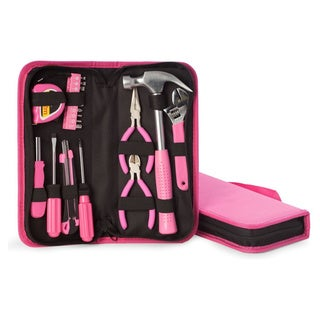 20 Pc Tool Set In Pink Canvas Case