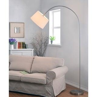 Design Craft Loom Brushed Steel Arc Floor Lamp