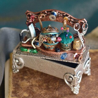 Sweet Romance Collectible Vintage Sewing Shelf Miniature Storybox