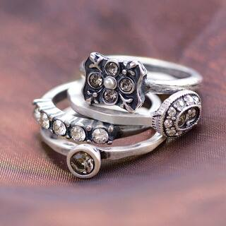 Sweet Romance Silver or Gold Vintage Florence Crystal Stack Rings - Set of 3|https://ak1.ostkcdn.com/images/products/16635713/P22959868.jpg?impolicy=medium