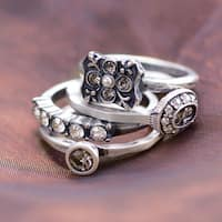 Sweet Romance Silver or Gold Vintage Florence Crystal Stack Rings - Set of 3