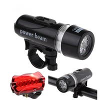 Ultra Bright 5 LED Bike Front Light Lamp and 5 LED Rear Safety Flashlight Bicycle Taillight Bicycle Light Set