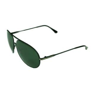 Tom Ford Unisex Aviator FT0450 02N Matte Black Frame and Green Lens Sunglasses