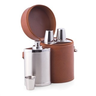6 Pc. Leather Bar Set with 3 Flasks and Shooter Cups