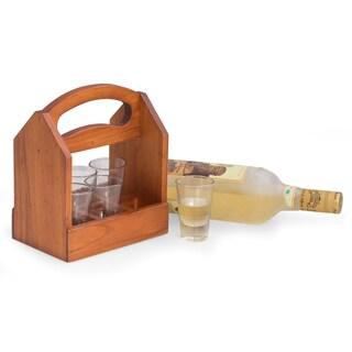 Solid Wood Six Shot Glass Caddy