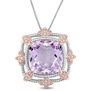 Miadora Signature Collection 14k Rose and White Gold Rose de France 1/4ct TDW Diamond Filigree Square Halo Necklace
