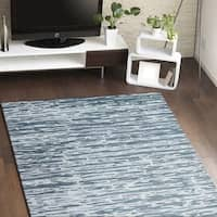 Charlotte Blue/Silver Cotton Area Rug - 6' x 9'