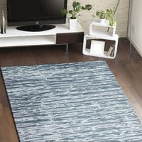 Charlotte Blue/Silver Cotton Area Rug - 3'9 x 5'9