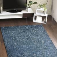 """Fenwich Blue Cotton Floral Area Rug - 5' x 7'6"""""""