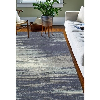 Paola Blue/Grey Abstract Area Rug (5' x 7'6)