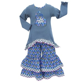 AnnLoren Girls Grey and Blue Elephant Tunic and Pant Clothing Set