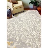Scarlett Grey/Off-white Cotton Floral Area Rug - 6' x 9'
