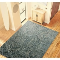 Sherwood Blue Cotton Floral Area Rug - 3'6 x 5'6'