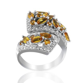 14k White Gold Women's Precious Marquise Round Cut Yellow Sapphire Diamond Accent RIng SIze 7.75