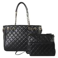 Diophy Quilted Pattern Tote with Matching Medium Bag and Wallet 3-piece Set