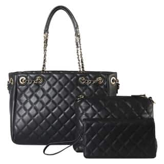Diophy Quilted Pattern Tote With Matching Medium Bag And Wallet 3 Piece Set