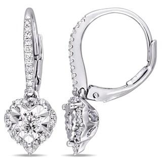 Laura Ashley 1/2ct TDW Diamond Leverback Heart Halo Earrings in Sterling Silver