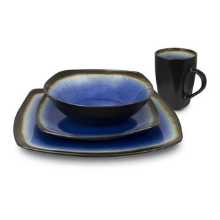 Kalorik Haus Blue Ceramic 16-piece Square Dinnerware Set