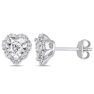 Laura Ashley 1/3ct TDW Diamond Heart Halo Stud Earrings in Sterling Silver|https://ak1.ostkcdn.com/images/products/16636325/P22960409.jpg?impolicy=medium