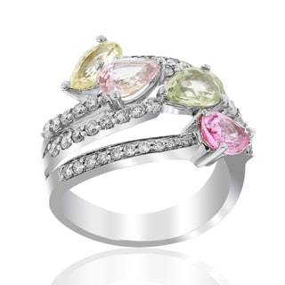 18k White Gold Women's Precious Multicolor Marquise Sapphire Diamond Accent RIng