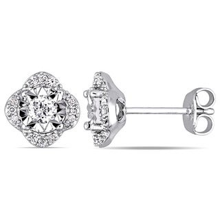Laura Ashley 1/3ct TDW Diamond Quatrefoil Halo Stud Earrings in Sterling Silver