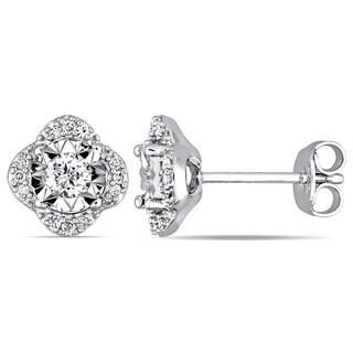 Laura Ashley 1/3ct TDW Diamond Quatrefoil Halo Stud Earrings in Sterling Silver