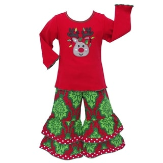 AnnLoren Girls Christmas Reindeer Holiday Pants Set