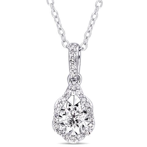 Laura Ashley 1/5ct TDW Diamond Teardrop Wavy Halo Necklace in Sterling Silver